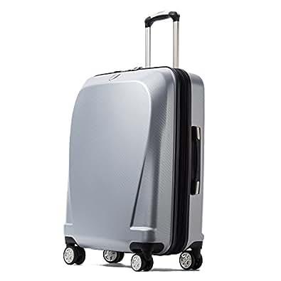 クロース(Kroeus)スーツケース キャリーケース 容量拡張機能 TSAロック搭載 ファスナータイプ エンボス加工 軽量 ダブルキャスター S型機内持ち込み可 トランクケース 出張 日本語取扱説明書 1年間保証 20 シルバー