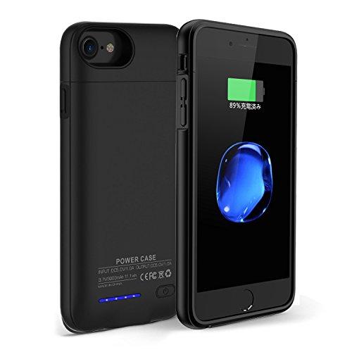 Yoaidoo 3000mAh バッテリー内蔵ケース iPhone6/6S/7 4.7インチ用 ケース型バッテリー 大容量 超軽量 急速充電 内蔵磁性 125%バッテリー容量追加(ブラック)