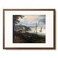 ヤン・ブリューゲル(父) Jan Brueghel de Oude 「River landscape with woodcutters」 額装アート作品