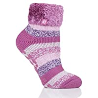 Heat Holders Lounge Socks - Pink/Cream Stripe Big Foot UK 9-12 US 10-13