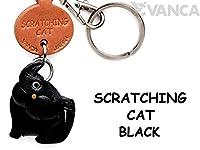 本革製 猫キーホルダー 黒ねこ かきかき VANCA CRAFT (日本製 職人の手作り)