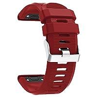 Garmin Fenix 5Xバンド スマートウォッチ交換ベルト 腕時計バンド Garmin Fenix 5X GPSウォッチ用交換ストラップ シリコン ダークレッド Everpert