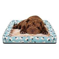 犬の冷却マットアイスシルクコールドベッド夏ペットクールダウンパッド通気性洗える犬スリーピングパッド猫パッドペットベッド四季 (Color : Green, Size : 60x50x7cm)