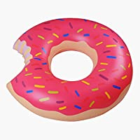 ドーナツフロート 空気入れ浮き輪 イチゴ チョコレート 大人用 子供用 2色2サイズ プール 海 夏の水遊び 家族 (120㎝ピンク)