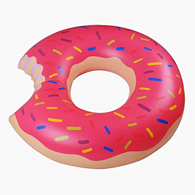 ドーナツフロート 空気入れ浮き輪 イチゴ チョコレート 大人用 子供用 2色2サイズ プール 海 夏の水遊び 家族 (90㎝ピンク)