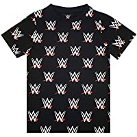 WWE Wrestling All Over Print Boys Kids Black Logo T-Shirt