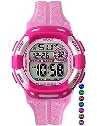 デジタル腕時計のガールズ7-color点滅ライト防水100 ft Alarm Watch for Age 4 – 12 (ピンク)