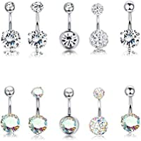 Finrezio 10Pcs Surgical Steel Belly Button Rings Set Clear & Aurora Crystals Ear Navel Rings Body Piercing Jewelry