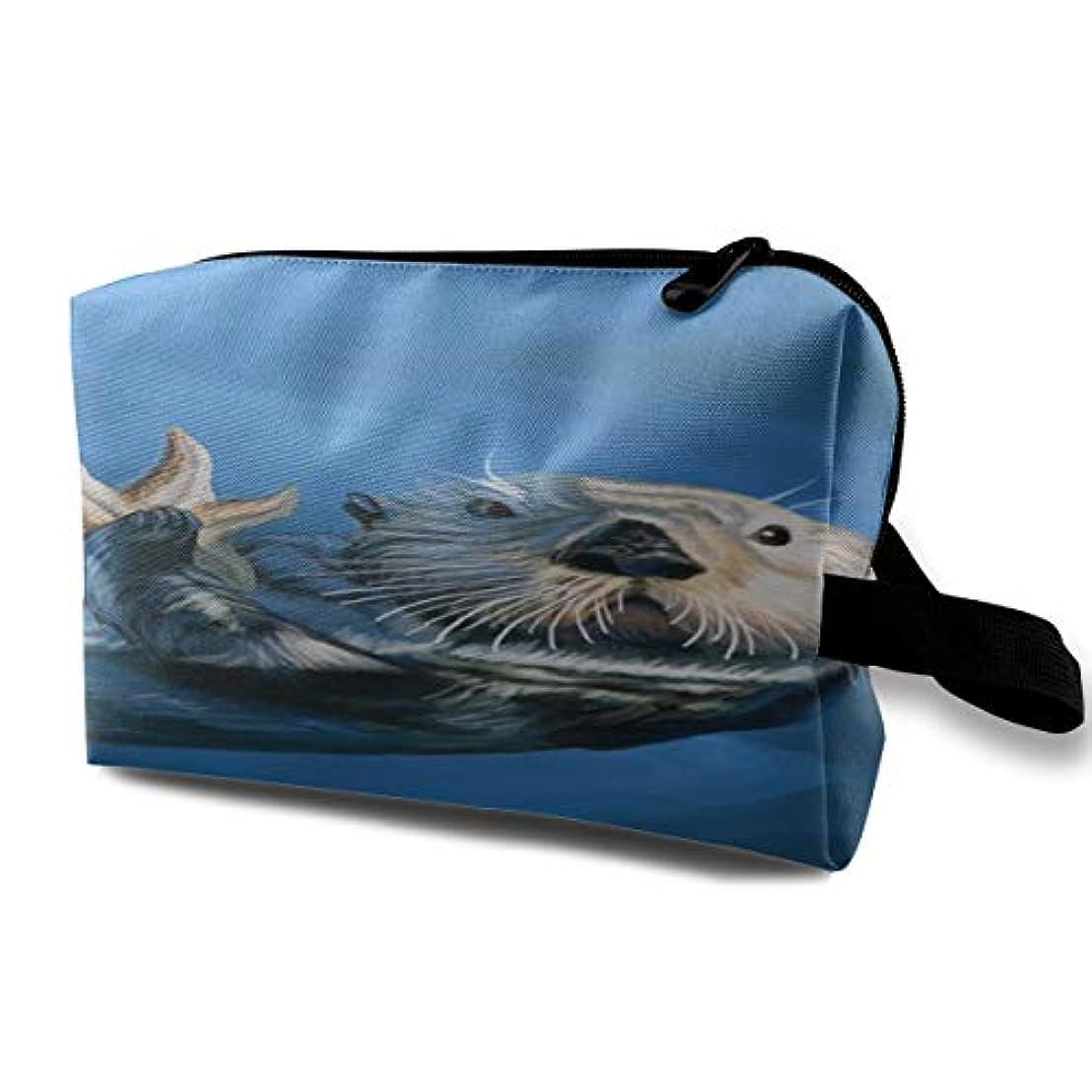 飾り羽関連付ける炭水化物Sea Otter 収納ポーチ 化粧ポーチ 大容量 軽量 耐久性 ハンドル付持ち運び便利。入れ 自宅?出張?旅行?アウトドア撮影などに対応。メンズ レディース トラベルグッズ