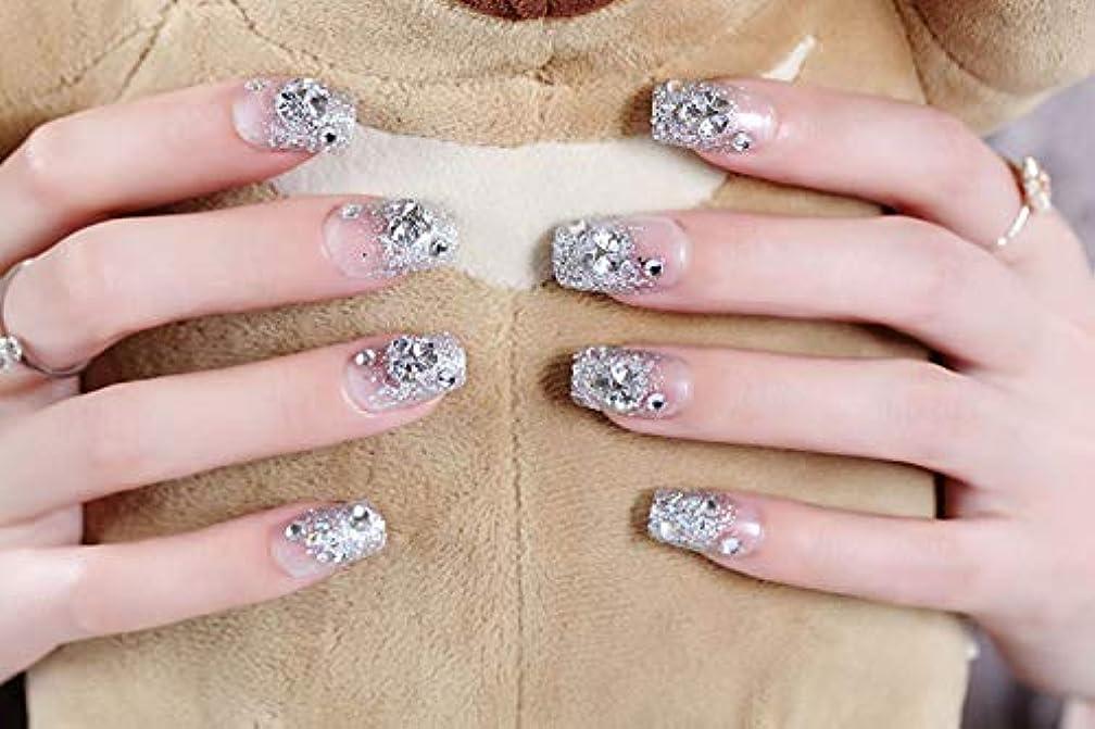 錆び流行している概要XUTXZKA 24ピース/セットラインストーンの装飾結婚式の花嫁のネイルアートのヒント短いフルカバーキラキラ爪