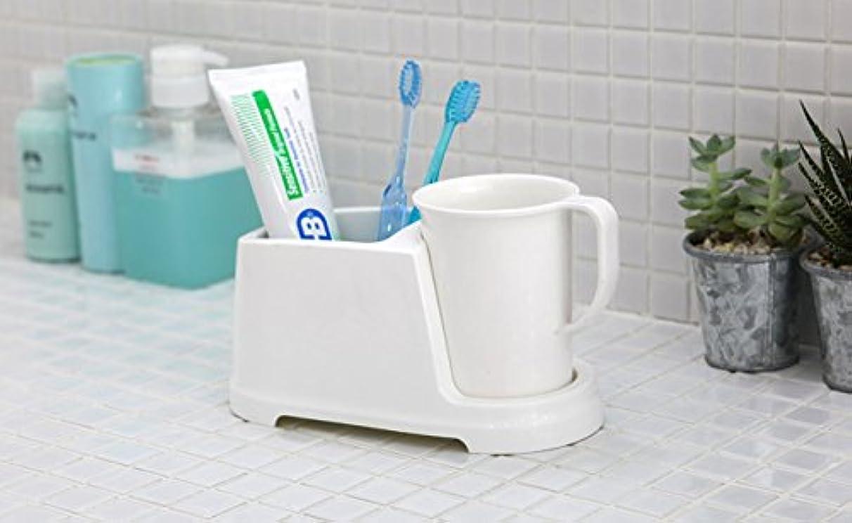 唇重量効能Tenby Living歯ブラシホルダー+ Rinse Cup、クリーンおよび現代デザイン、ホワイト