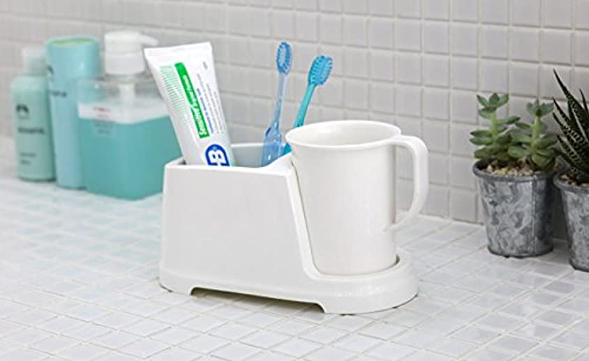 幻滅する階下検査官Tenby Living歯ブラシホルダー+ Rinse Cup、クリーンおよび現代デザイン、ホワイト