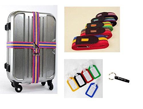 [pkpohs] スーツケース ベルト クロス 十字 タイプ [ネームタグ、 防犯ホイッスル セット] カラフル 目立ちやすい 旅行 トラベル トランク