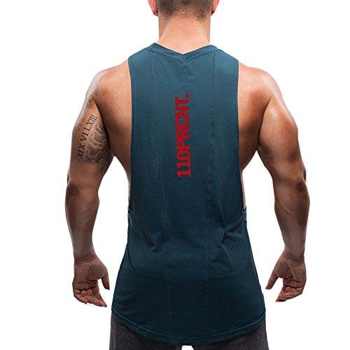 (Ruuko)トレーニングタンクトップ メンズ スポーツ ノースリーブ トレーニングウェア シャツ (L, 濃緑色)