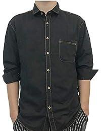 chenshiba-JP メンズロングスリーブデニムワークシャツポケットカジュアルボタンドレスシャツ