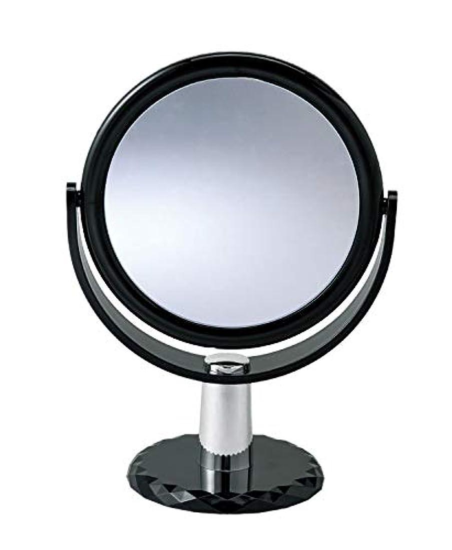 要塞鷹ストレージ10倍拡大鏡付きの2面ミラー 卓上 スタンドミラー 化粧鏡 メイク 360度回転