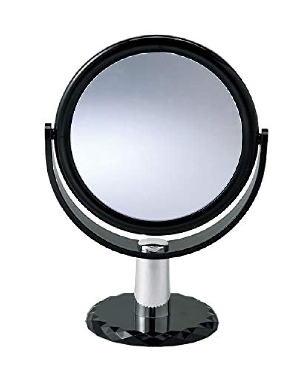10倍拡大鏡付きの2面ミラー 卓上 スタンドミラー 化粧鏡 メイク 360度回転