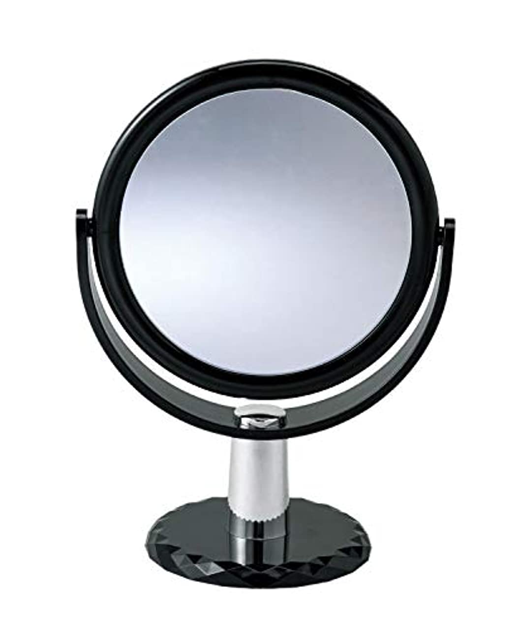 牛海岸西10倍拡大鏡付きの2面ミラー 卓上 スタンドミラー 化粧鏡 メイク 360度回転
