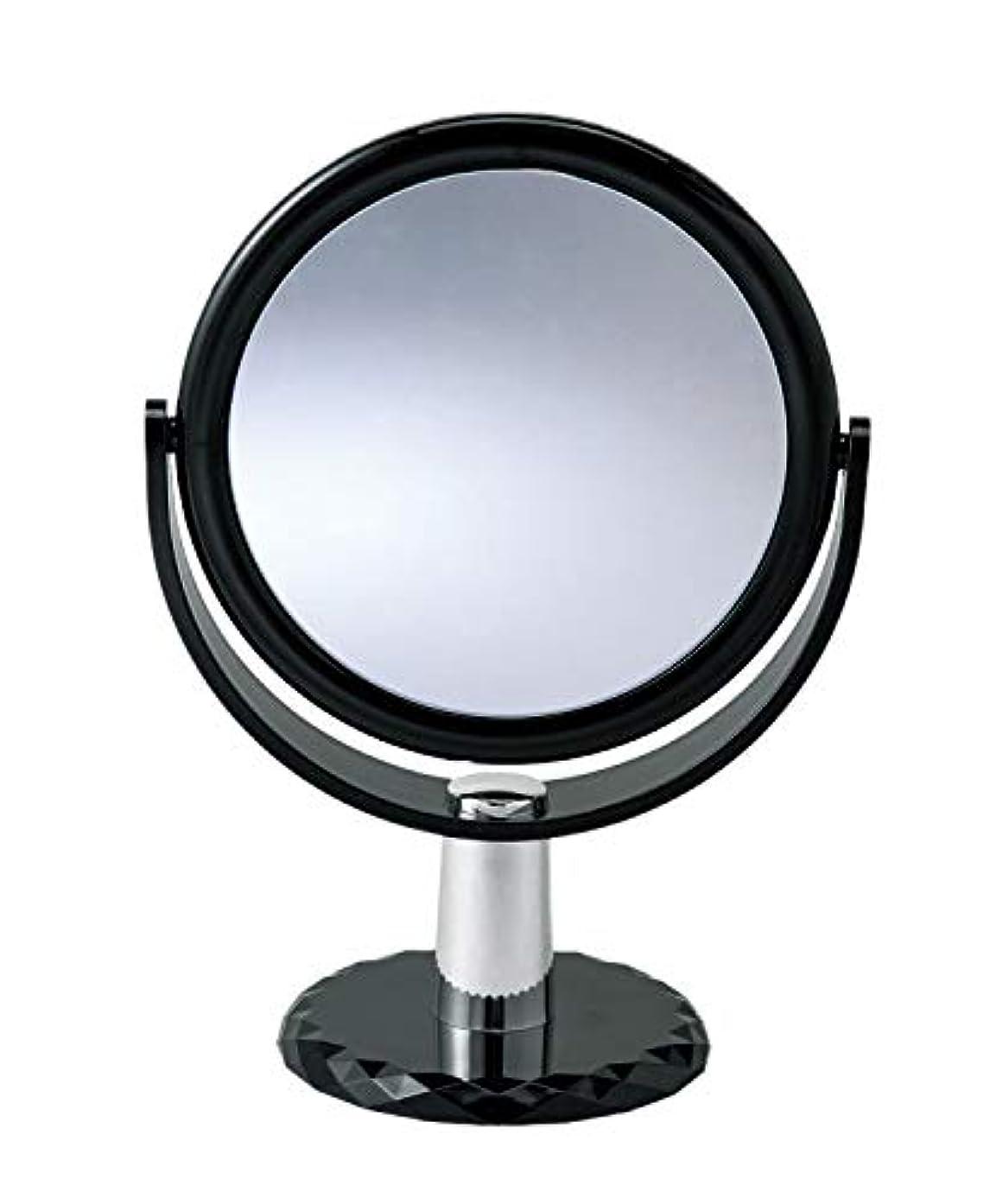 逆にむしろリスク10倍拡大鏡付きの2面ミラー 卓上 スタンドミラー 化粧鏡 メイク 360度回転
