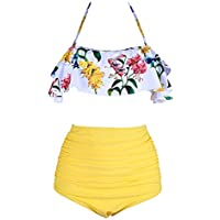 X-Fit Flounce Ruffle Top Swimsuit for Women Two Piece High Waisted Bathing Suits Plus Size Swimwear