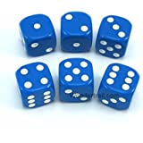 WKP10880E6 Blue Opaque Dice with White Pips D6 16mm (5/8in) Rounded Corners Pack of 6 Dice Koplow Games