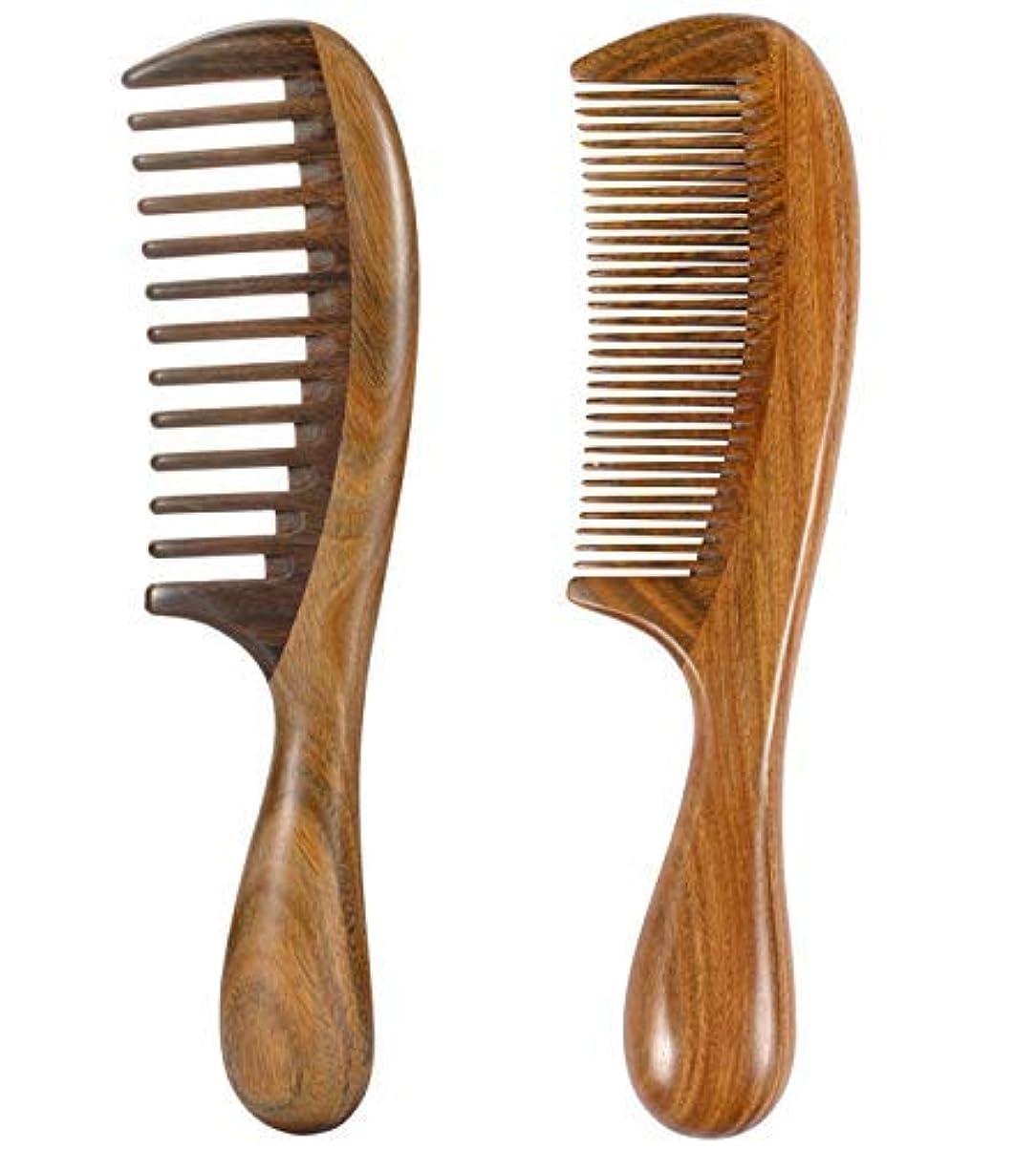 チャーム定規贅沢なiPang 2pcs Wooden Hair Comb Wide Tooth Comb and Find Tooth Comb Detangling Sandalwood Comb [並行輸入品]