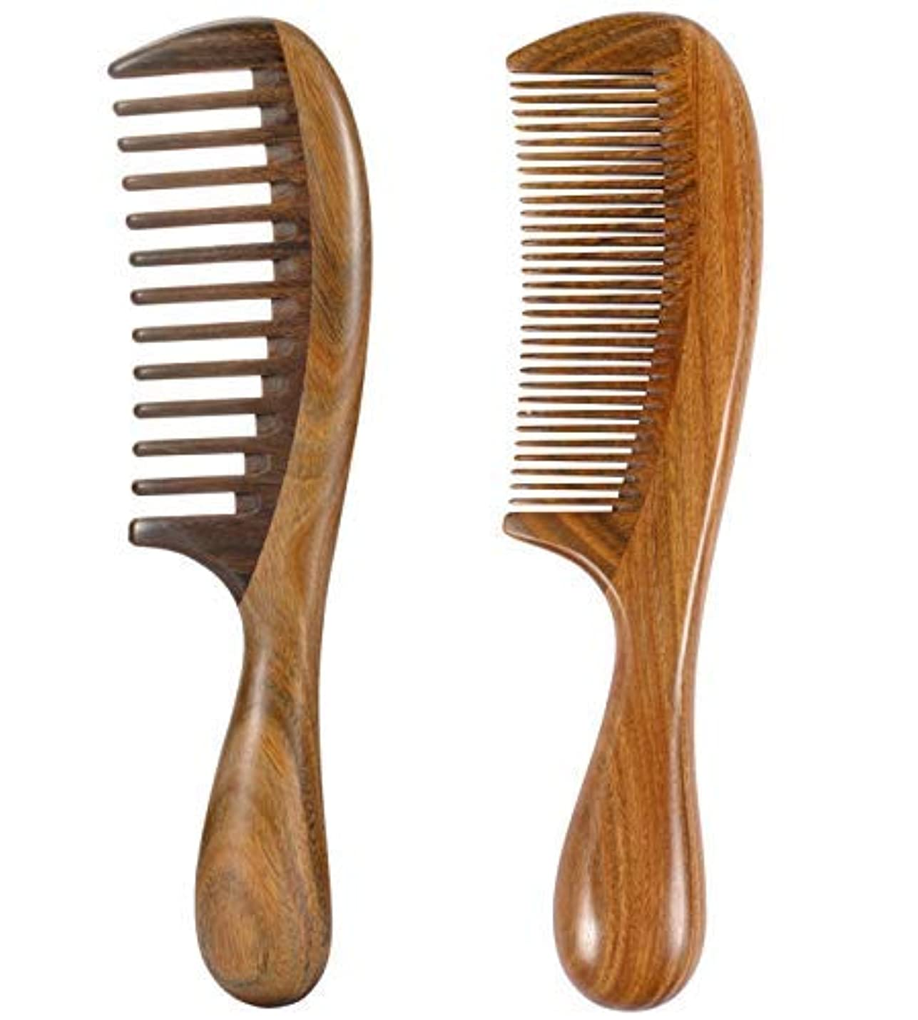 iPang 2pcs Wooden Hair Comb Wide Tooth Comb and Find Tooth Comb Detangling Sandalwood Comb [並行輸入品]