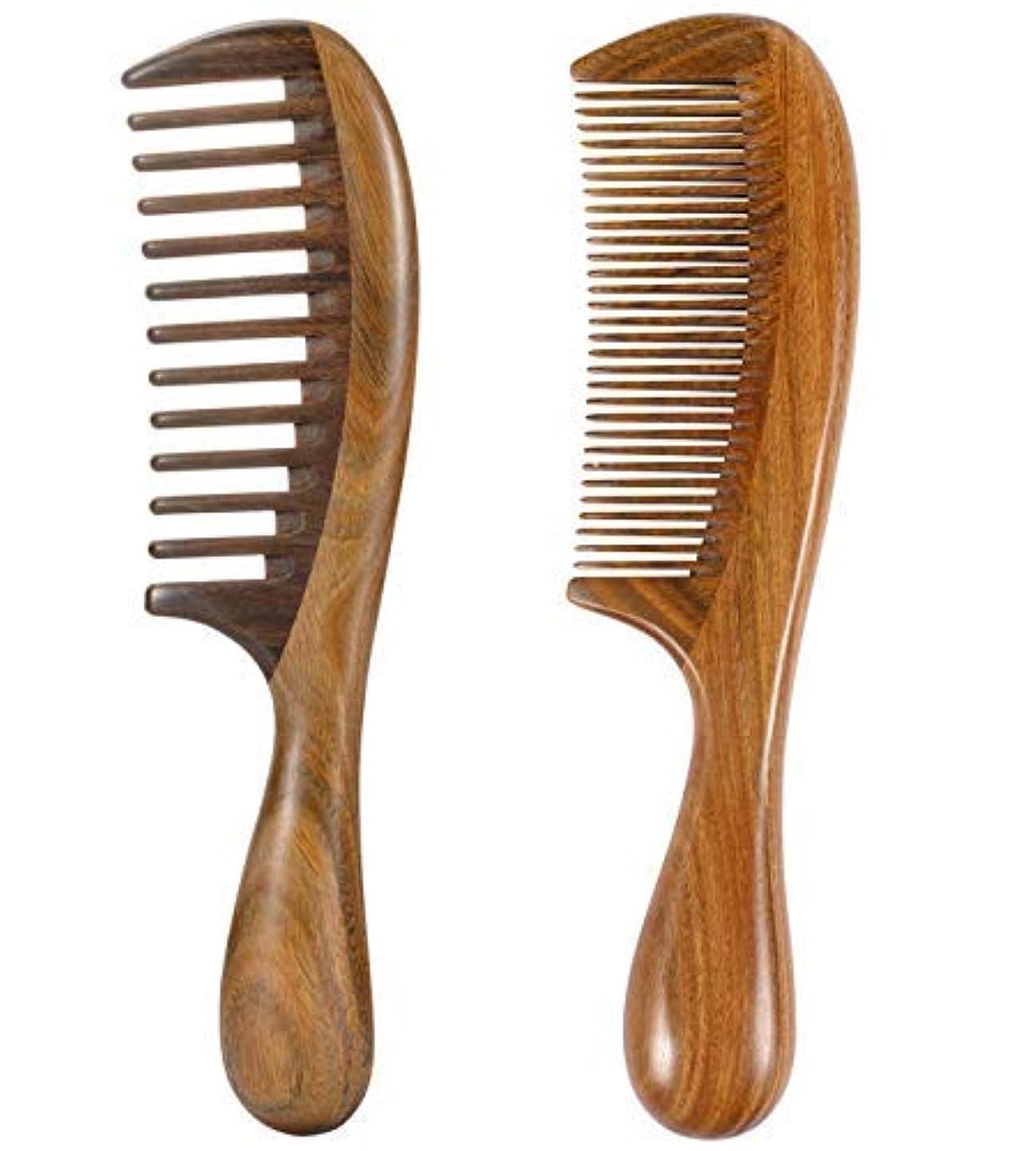 優れました押し下げる不要iPang 2pcs Wooden Hair Comb Wide Tooth Comb and Find Tooth Comb Detangling Sandalwood Comb [並行輸入品]
