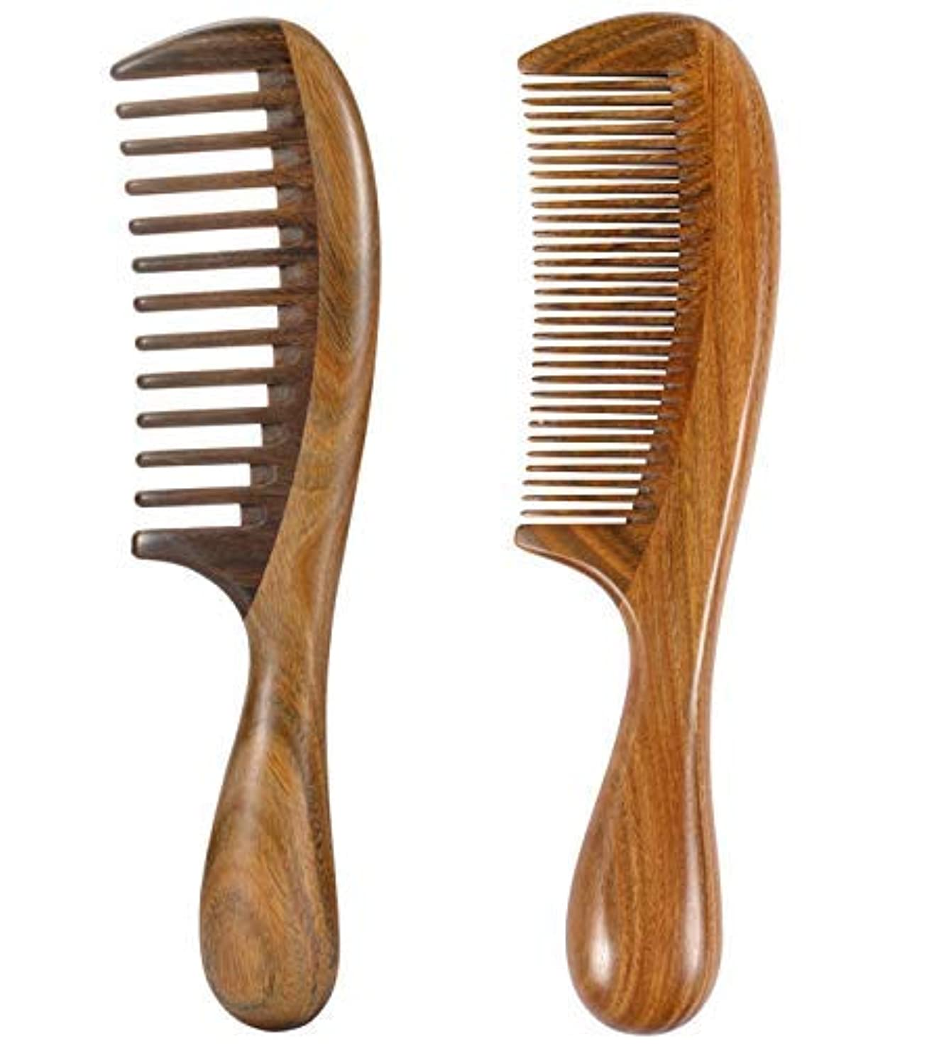 ルーチン高揚したパントリーiPang 2pcs Wooden Hair Comb Wide Tooth Comb and Find Tooth Comb Detangling Sandalwood Comb [並行輸入品]