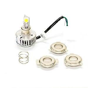 Fair trading バイクライト LEDヘッドライト H4/PH7/PH8共通 3種類の変換アダプター付 アクチュエータースライド式 30W   H/L 6000K H62rinHID2 オートバイ 二輪用