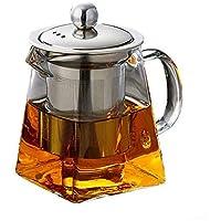 ティーポット ティーセット 茶用品 耐熱ガラス+ステンレススチールフィルター  高温抵抗ガラス ハーブティー、紅茶、緑茶など 450℃可能 (B:550ml)