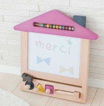 oekaki house【cat&ピンクの屋根】(ジジ オエカキハウス) おえかきハウス お絵かきボード 木のおもちゃ 出産祝いや誕生日プレゼントに!
