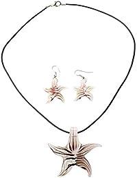 SODIAL(R)ガラスジュエリー イヤリング ネックレス ペンダント スターのファッションジュエリー