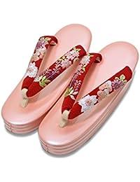 [ 京都きもの町 ] 礼装 草履単品 お花の刺繍鼻緒×ピンク色台 Lサイズ