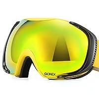 Gonex偏光スキーゴーグル曇り止めアンチグレア雪ゴーグルuv400保護の特大ダブル球面レンズスキースノーボードスケート冬のスポーツ+ Goggle Case