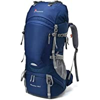 Mountaintop 65L Outdoor Hiking Backpack Camping Backpack Internal Frame Bag Sapphire Blue