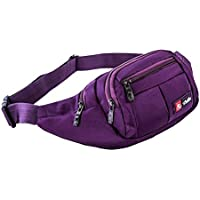 Waist Pack, ISADENSER Outdoor Sports Waist Bag, Bum bag, Running Exercise Runner Fitness Workout Hip Race Belt Fanny Pack, Workout Pouch With Zipper for Hiking, Climbing, Outdoor (Purple)