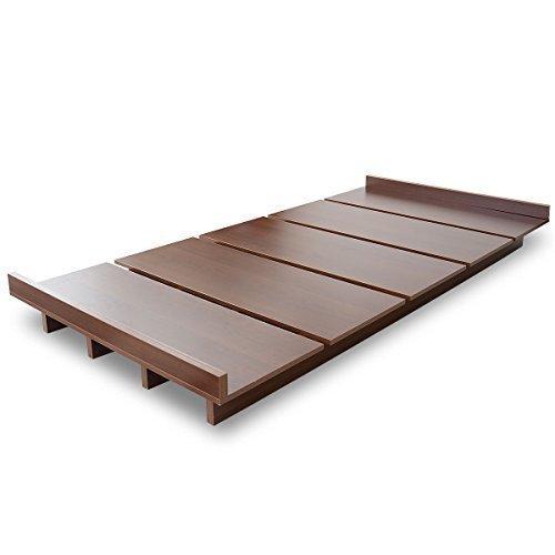 (DORIS)ベッドダブルフレームのみ【ゼストブラウン】ロースタイルフロアベッド組み立て式すのこ仕様ヘッドボードレス(KIC)