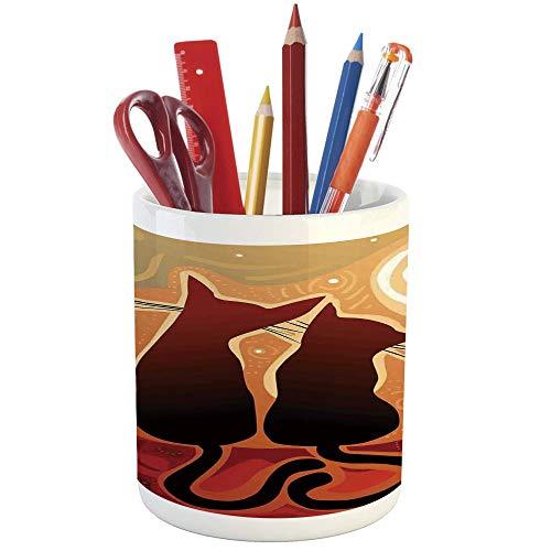 鉛筆ホルダー、動物、プリントセラミック鉛筆ペンホルダー、デスク、オフィスアクセサリー、国産猫の肖像画、かわいい顔、赤ちゃん猫、ペット、ウィスカー、ふわふわなフェイン。
