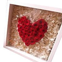 結婚祝い 花 プレゼント ガラスケース入り ハートのプリザーブドフラワー 赤バラ ハート