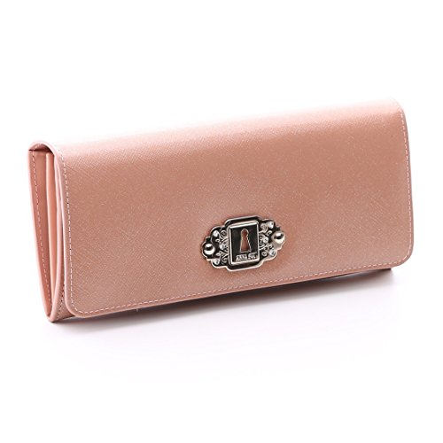 ANNA SUI アナスイ アルヴァ 2つ折り 長財布 レディース 財布 さいふ サイフ かぶせ 財布 二つ折り (ピンク)