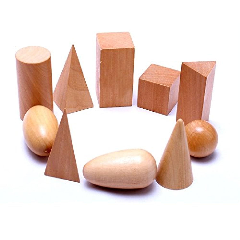 Wooden Mystery Bag Geometric Shapes Solids Geometry Blocks Education Cognitive Math Toys 10pcs/set