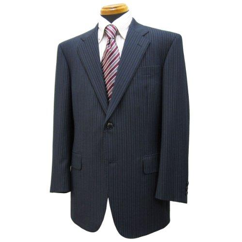 シングル2釦スーツ「日本製」ウール100% イタリア/紺系ストライプ柄/メンズ紳士服上下 ロロ・ピアーナ