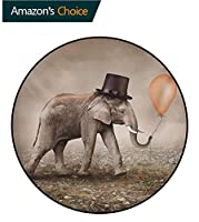 象柔らかい吸水パッド ブラックハットとイリュージョニスト象マジックバルーン夢のようなシュールなアート印刷するラグ まる型 丸く薄くて軽いトーペタンブラックオレンジ(直径-150cm)