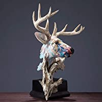 置物・オブジェ 動物の壁の彫刻、審美的な哺乳類の装飾小さな彫像フィルム手工芸品の動物の壁の彫刻を塗る頭部像油鹿41センチメートルの人工 工芸品の彫刻 (Color : Multi-colored)