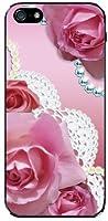 液晶保護フィルム付 iPhone5 iPhone5s TPUソフトケース バラ&レース(ピンク)