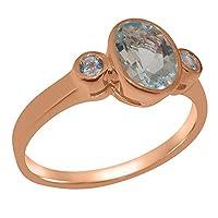 英国製(イギリス製) K9 ピンクゴールド 天然 アクアマリン レディース3石 トリロジー リング 指輪 各種 サイズ あり