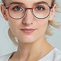 ラウンド フレームの老眼鏡,抗疲労 女性のための読者 軽量 眼の保護 ファッション 快適なフィット感-赤 +2.0
