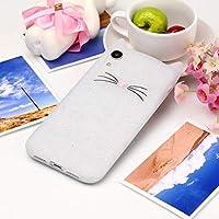 TPU 保護カバー ケース iPhone XR用キャットウィスカーパターンシリコン保護ケース カバー 傷防止 (色 : 白)