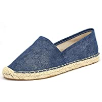 Espadrille Flats for Women, Slip on Espadrille Loafers Sneakers Shoes Navy Blue Tan Brown Rose Gold Silver Red Ladies Canvas/Faux-Suede Espadrilles for Women(04-9-86 / Navy, US-6)